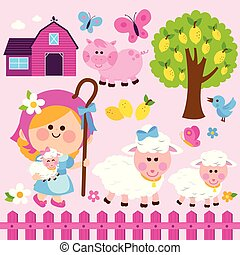 Shepherdess girl and animals at the farm. Vector illustration collection