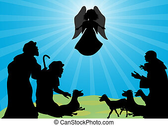 Shepherds and angel silhouette - Angel announced to the...
