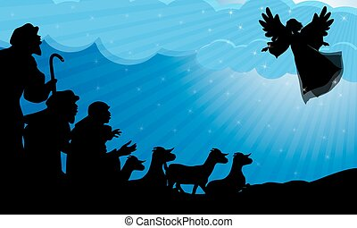 Shepherds and angel silhouette - Angel announced the birth...