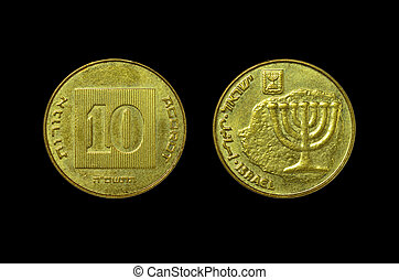 Sheqel - 10 Israeli New Agora coin isolated on white ...