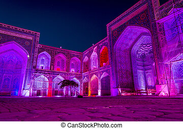 Sher-Dor Madrasah at night, Samarkand, Uzbekistan