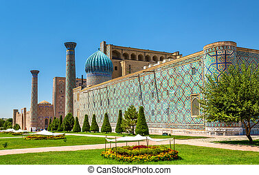 Sher Dor madrasah on Registan Square in Samarkand, Uzbekistan