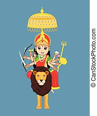 sherawali, 女神, indian, -, mata