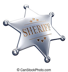 3d render illustration - sheriff badge isolated on white