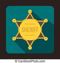Sheriff badge icon, flat style