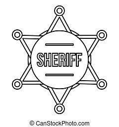 Sheriff badge icon, outline style