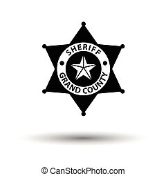 Sheriff badge icon. White background with shadow design....
