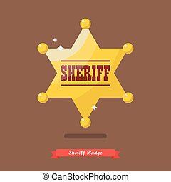 Sheriff badge in flat style