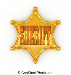 sheriff badge - law, isolated, decoration, police, white,...