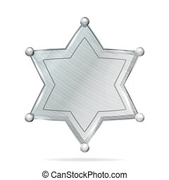 Sheriff Badge Star Vector. Realistic Blank Of Metal Sheriff Badge Star. Empty Blank With Shadow.