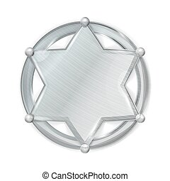 Sheriff Badge Star Vector. Realistic Blank Of Metal Sheriff Badge Star.