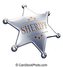 Sheriff badge - 3d render illustration - sheriff badge...