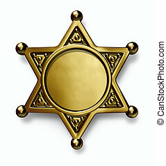 Sheriff Badge - Sheriff and police brass or gold metal badge...