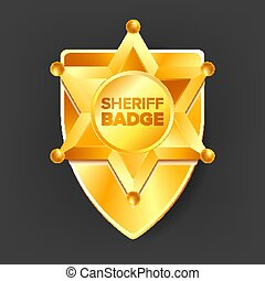 Sheriff Badge Vector. Golden Star. Western Style. 3D Realistic Illustration.