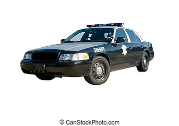 Sheriff Car Front Angle - Front angle view of a black and...