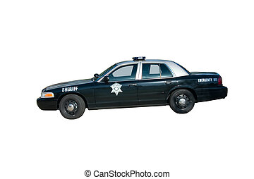 Side view of a silver and black police patrol vehicle with star on door, Isolated on white