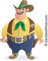 Sheriff - Cartoon illustration of a sheriff. No transparency...