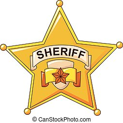 Sheriff gold star icon, cartoon style