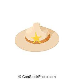 Sheriff hat icon, cartoon style