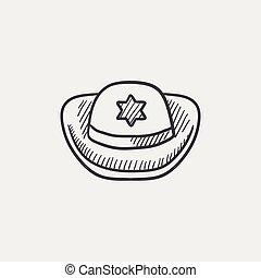Sheriff hat sketch icon.