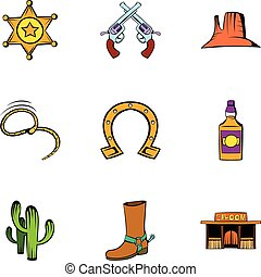 Sheriff icons set, cartoon style