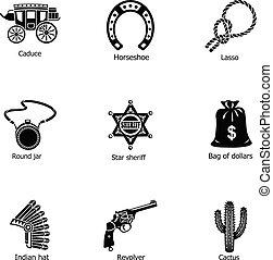 Sheriff icons set, simple style - Sheriff icons set. Simple...