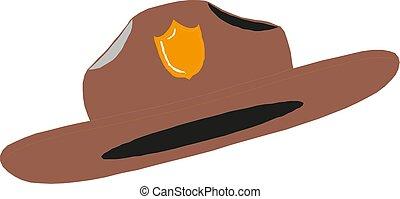 sheriff, illustration, hatt, 10, gammal, eps, västra, vektor