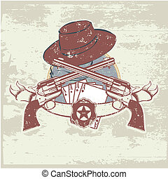 sheriff insignia - Vector insignia and banner with two guns...