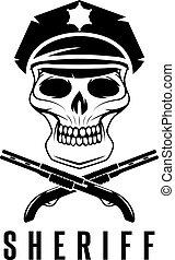 sheriff, kalotje, geweren, vector, ontwerp, mal
