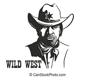 Sheriff man portrait in cowboy hat and sheriff star. Vector hand drawn illustration isolated on white
