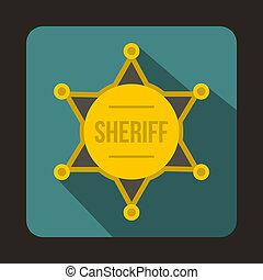 sheriff marke, ikone, wohnung, stil