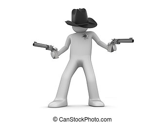 Sheriff on guard (3d isolated characters on white background...