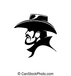 Sheriff or cowboy in leather hat isolated bandit