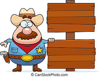 A cartoon sheriff standing next to a wooden sign.