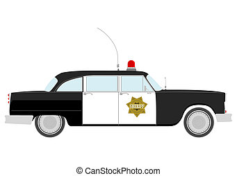 Sheriff - Silhouette of vintage police car.