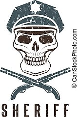 sheriff skull in cap and shotguns grunge vector design template
