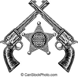 Sheriff Star Badge and Crossed Pistols - A sheriff star...