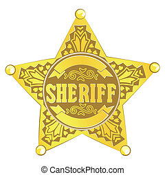 Sheriff star - gold vector Sheriff star on white background