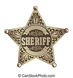 Sheriff star - brown vector Sheriff star on white background...