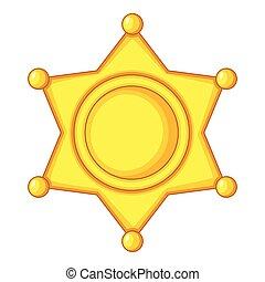 Sheriff star Icon Cap icon, cartoon style