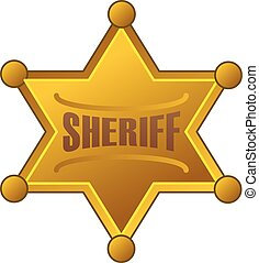 Sheriff star icon, cartoon style