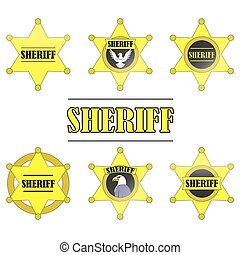 Sheriff Stars icon set isolated on white background