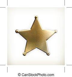 sheriff, stjärna, ikon