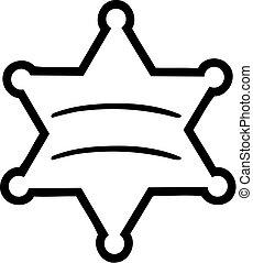 sheriff, stjärna, skissera