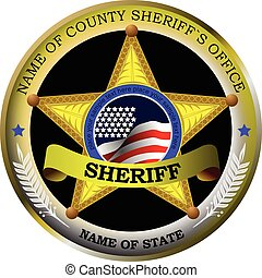 Sheriff's badge on a white background. Vector illustration