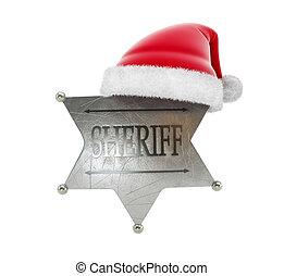sheriff's badge santa hat 3d Illustrations on a white background