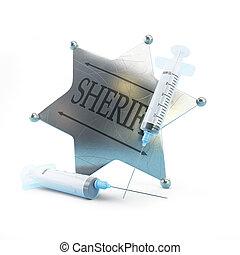 sheriff's badge syringe on a white background 3D illustration, 3D rendering