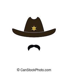 Sheriff's head. Cowboy icon.