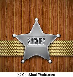 sheriff's, insignia, en, un, de madera, fondo.
