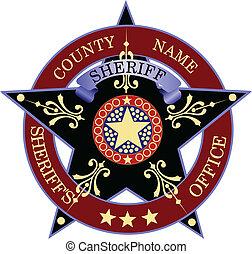 sheriff's, jelvény, képben látható, egy, fehér, backgrou